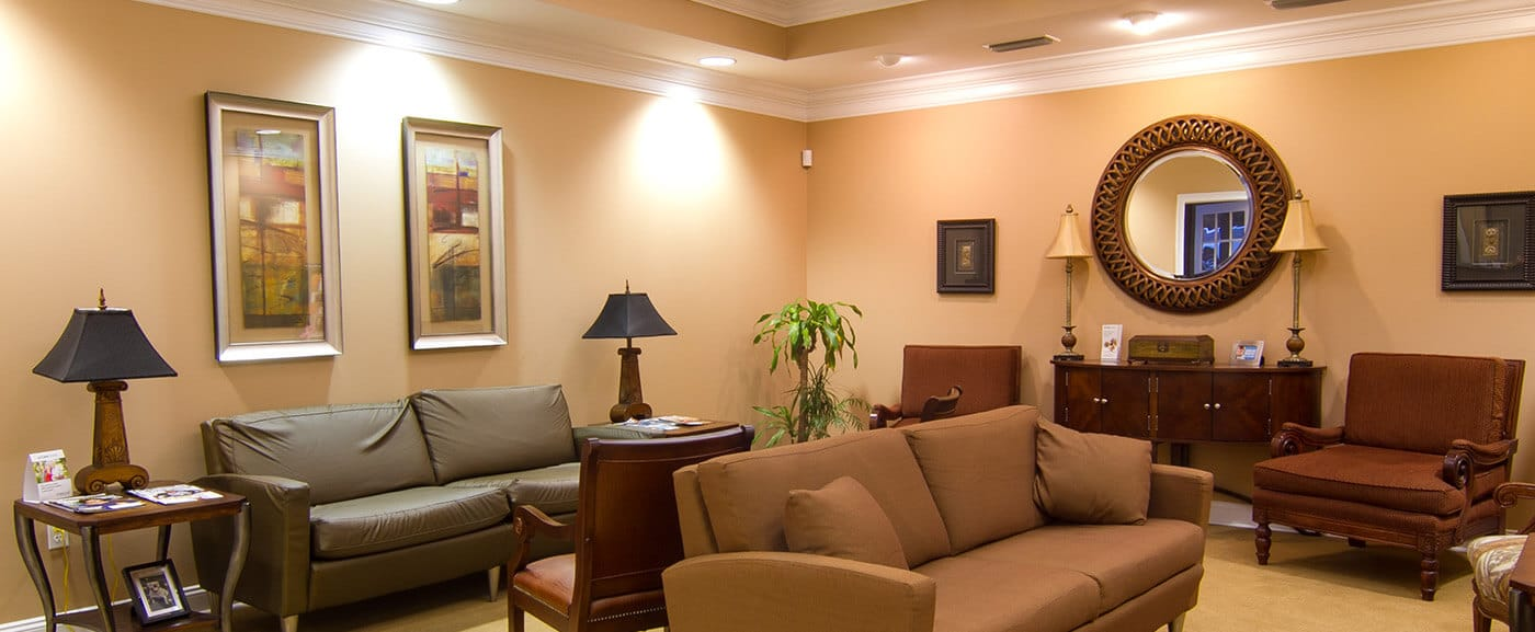 Plush and comfortable dental patient waiting area
