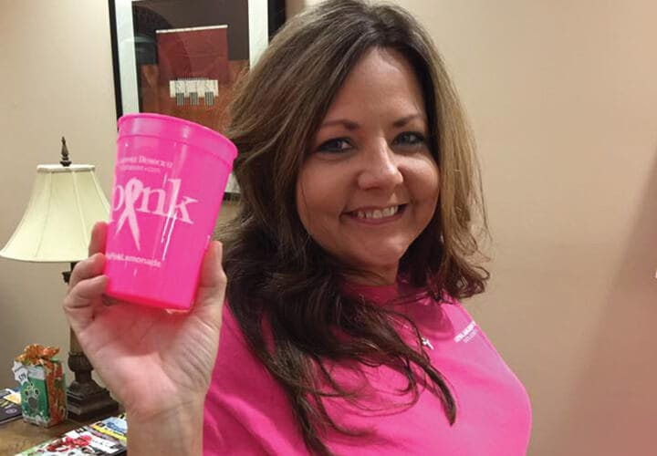 Terri practice manager supporting breast cancer awareness