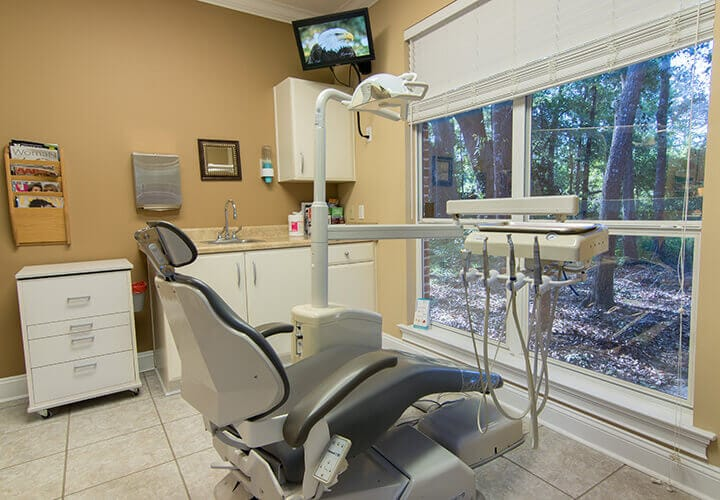 Dental chair with lovely forest view